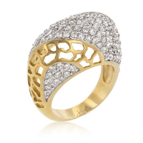Rings $74.90 Victoria Ring Sparkling Cubic Zirconia Micro Pave Yellow Gold Plated JGI big cz formal yg
