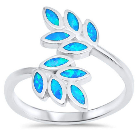Rings $58.61 Vine Tree Blue Lab Opal Set in Sterling Silver Ring 50-100, badge-toprated, blue, floral, opal