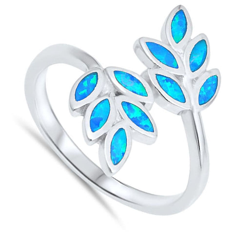 Rings $36.01 Vine Tree Blue Lab Opal Set in Sterling Silver Ring blue opal tree vine