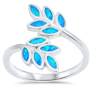 Vine Tree Blue Lab Opal Set in Sterling Silver Ring