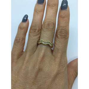 Rings $399.99 Wavy Diamond 14K Yellow Gold Band Stacking Eternity Ring Size 5.5 - 14K Band Yg