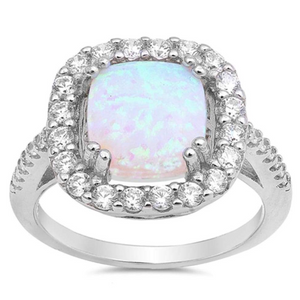 Rings $43.99 White Cushion Cut Opal Halo CZ Engagement Ring Sterling Silver 25-50 badge-toprated clear cubic-zirconia cz