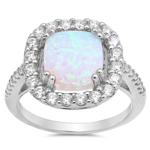 Image of Rings $43.99 White Cushion Cut Opal Halo CZ Engagement Ring Sterling Silver 25-50 badge-toprated clear cubic-zirconia cz