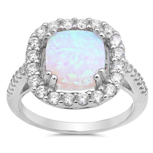 White Cushion Cut Opal Halo CZ Engagement Ring Sterling Silver