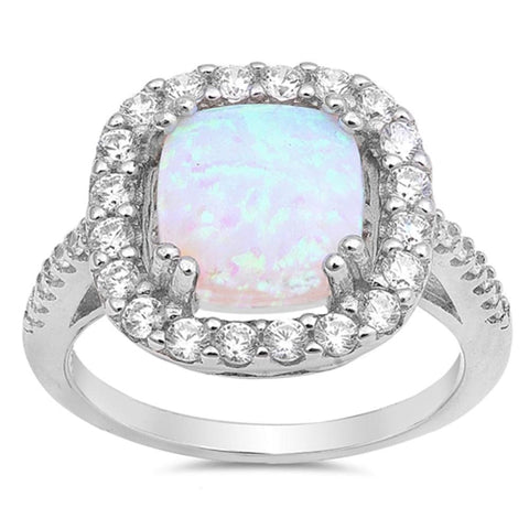 Image of Rings $43.99 White Cushion Cut Opal Halo CZ Engagement Ring Sterling Silver clear cz er halo opal