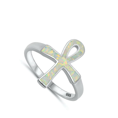 Rings $33.16 White Lab Opal Ankh Loop Cross Set in a Wide Band opal white