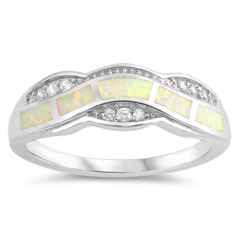 Image of Rings $55.05 White Lab Opal Fire Water Wave Ring Design 50-100, badge-toprated, clear, cubic-zirconia, cz