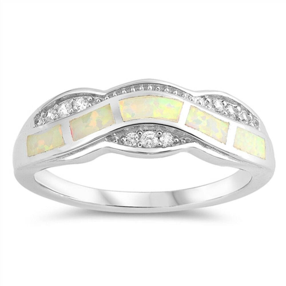 Rings $33.37 White Lab Opal Fire Water Wave Ring Design clear cubic-zirconia cz opal white