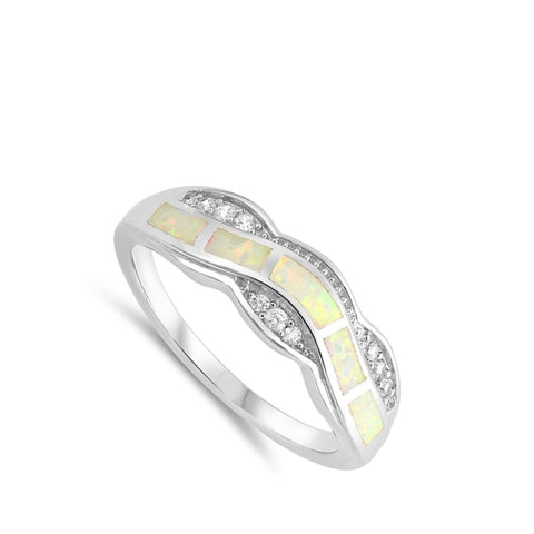 Image of Rings $33.37 White Lab Opal Fire Water Wave Ring Design clear cubic-zirconia cz opal white