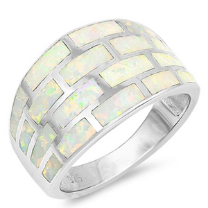 Rings $61.74 White Lab Opal Geometric Rectangle Brick Inlay Sterling Silver Wide Band 50-100, badge-toprated, opal, rings, size-10