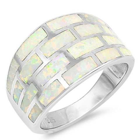 Image of Rings $61.74 White Lab Opal Geometric Rectangle Brick Inlay Sterling Silver Wide Band 50-100, badge-toprated, opal, rings, size-10