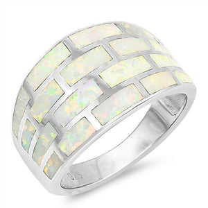 White Lab Opal Geometric Rectangle Brick Inlay Sterling Silver Wide Band