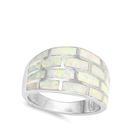 Image of Rings $47.49 White Lab Opal Geometric Rectangle Brick Inlay Sterling Silver Wide Band opal white