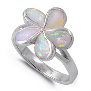 Rings $52.80 White Lab Opal in a Plumeria Flower Style Set in a Sterling Silver Band 50-100, badge-toprated, floral, opal, rings