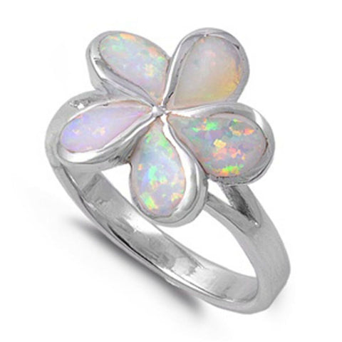 Rings $52.80 White Lab Opal in a Plumeria Flower Style Set in a Sterling Silver Band opal white