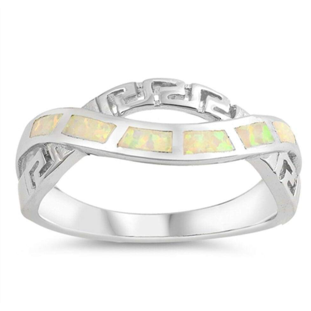 Rings $50.80 White Lab Opal in an Infinity Greek Key Knot Design Ring Size 5-10 50-100, badge-toprated, greek, infinity, knot