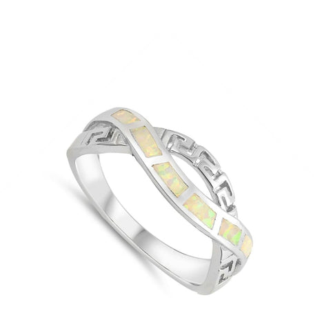 Image of Rings $30.22 White Lab Opal in an Infinity Greek Key Knot Design Ring Size 5-10 25-50 greek infinity knot opal