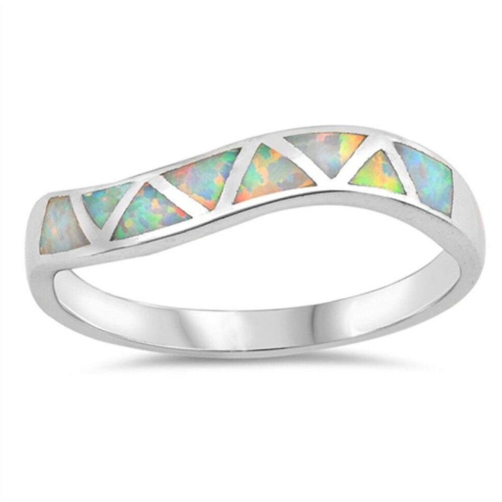 Rings $50.80 White Lab Opal in Mosaic Triangles Set in Sterling Silver Band Size 4-10 50-100, badge-toprated, opal, rings, size-10