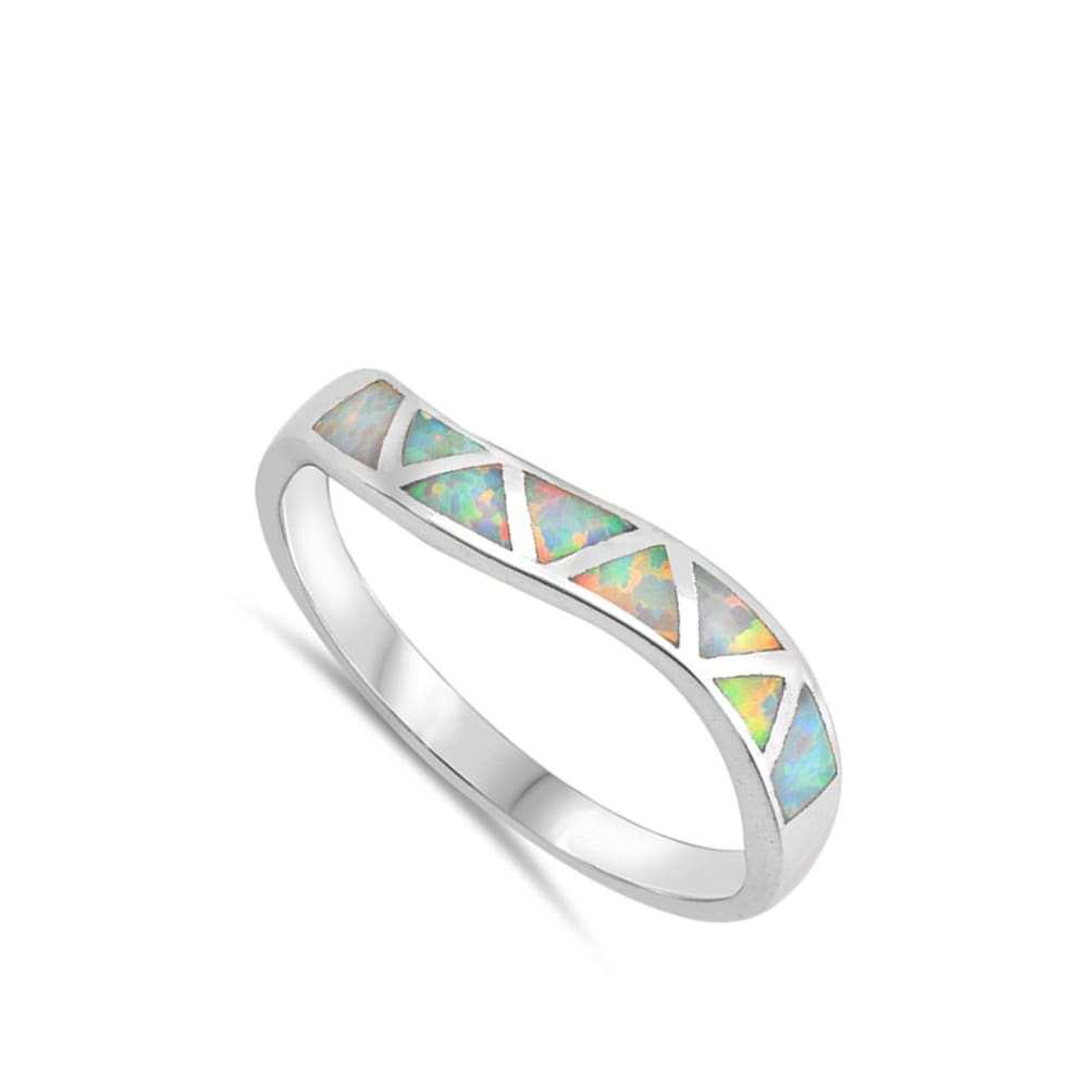 Rings $30.22 White Lab Opal in Mosaic Triangles Set in Sterling Silver Band Size 4-10 25-50 opal rings size-10 size-4