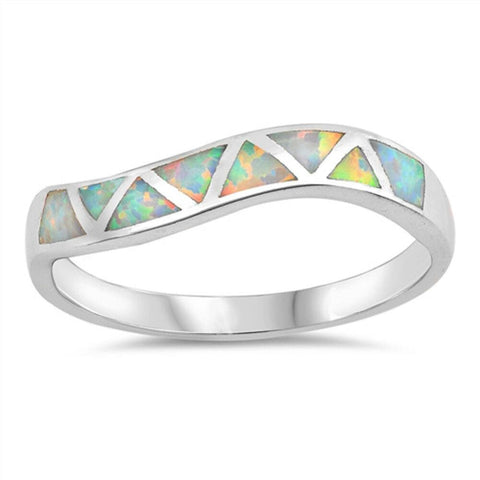Image of Rings $30.22 White Lab Opal in Mosaic Triangles Set in Sterling Silver Band Size 4-10 25-50 opal rings size-10 size-4