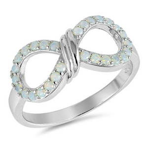 Rings $32.74 White Lab Opal Infinity Knot in a Wide Sterling Silver Ring 25-50, badge-toprated, cubic-zirconia, cz, infinity