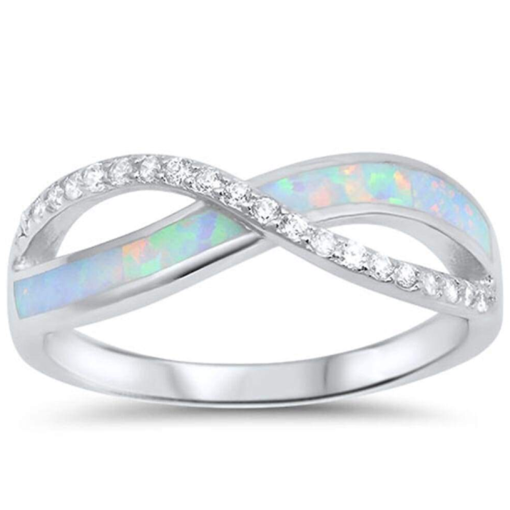 Rings $28.96 White Lab Opal Infinity Sterling Silver Ring Size 4-12 25-50, badge-toprated, greek, infinity, knot