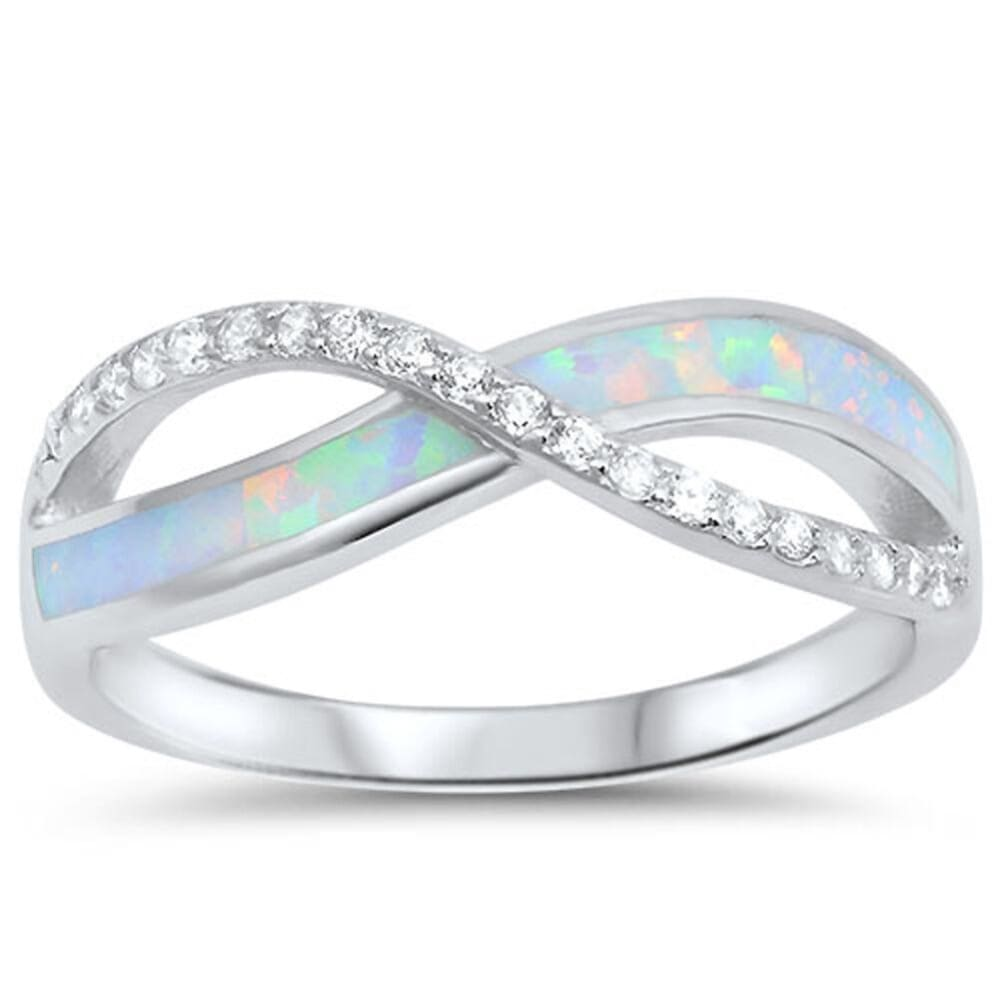 Rings $28.96 White Lab Opal Infinity Sterling Silver Ring Size 4-12 25-50 greek infinity knot opal