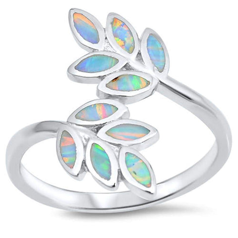 Image of Rings $36.10 White Lab Opal Leaf Branch Design Set in Sterling Silver Band </h3> opal white