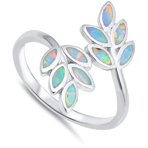 White Lab Opal Leaf Branch Design Set in Sterling Silver Band