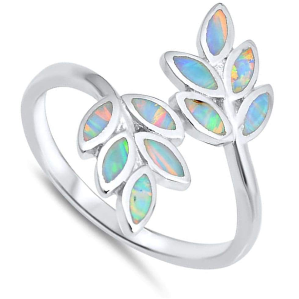 Rings $36.10 White Lab Opal Leaf Branch Design Set in Sterling Silver Band 25-50, badge-toprated, opal, rings, size-10