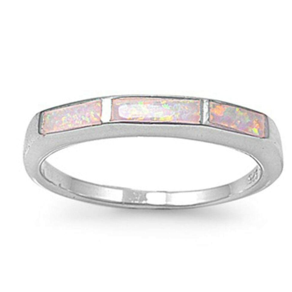 Rings $61.57 White Lab Opal Mosaic Pattern Design Set in a Sterling Silver Thumb Band 50-100, badge-toprated, mosaic, opal, rings
