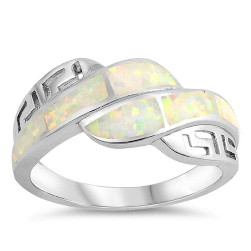 Rings $53.92 White Lab Opal Mosaic with Greek Key Pattern Ring 50-100, badge-toprated, greek, opal, rings