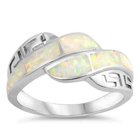 Image of Rings $53.92 White Lab Opal Mosaic with Greek Key Pattern Ring 50-100, badge-toprated, greek, opal, rings