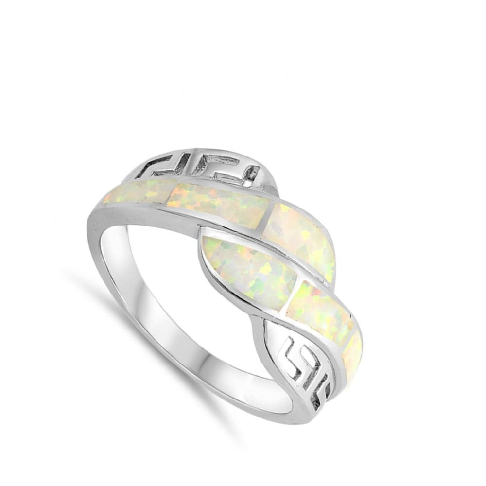 Rings $32.53 White Lab Opal Mosaic with Greek Key Pattern Ring greek opal white