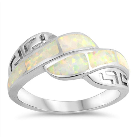 Image of Rings $32.53 White Lab Opal Mosaic with Greek Key Pattern Ring greek opal white