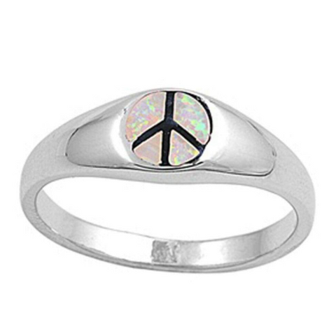 Rings $61.85 White Lab Opal Peace Symbol Set in a Sterling Silver Band 50-100, badge-toprated, opal, rings, size-6