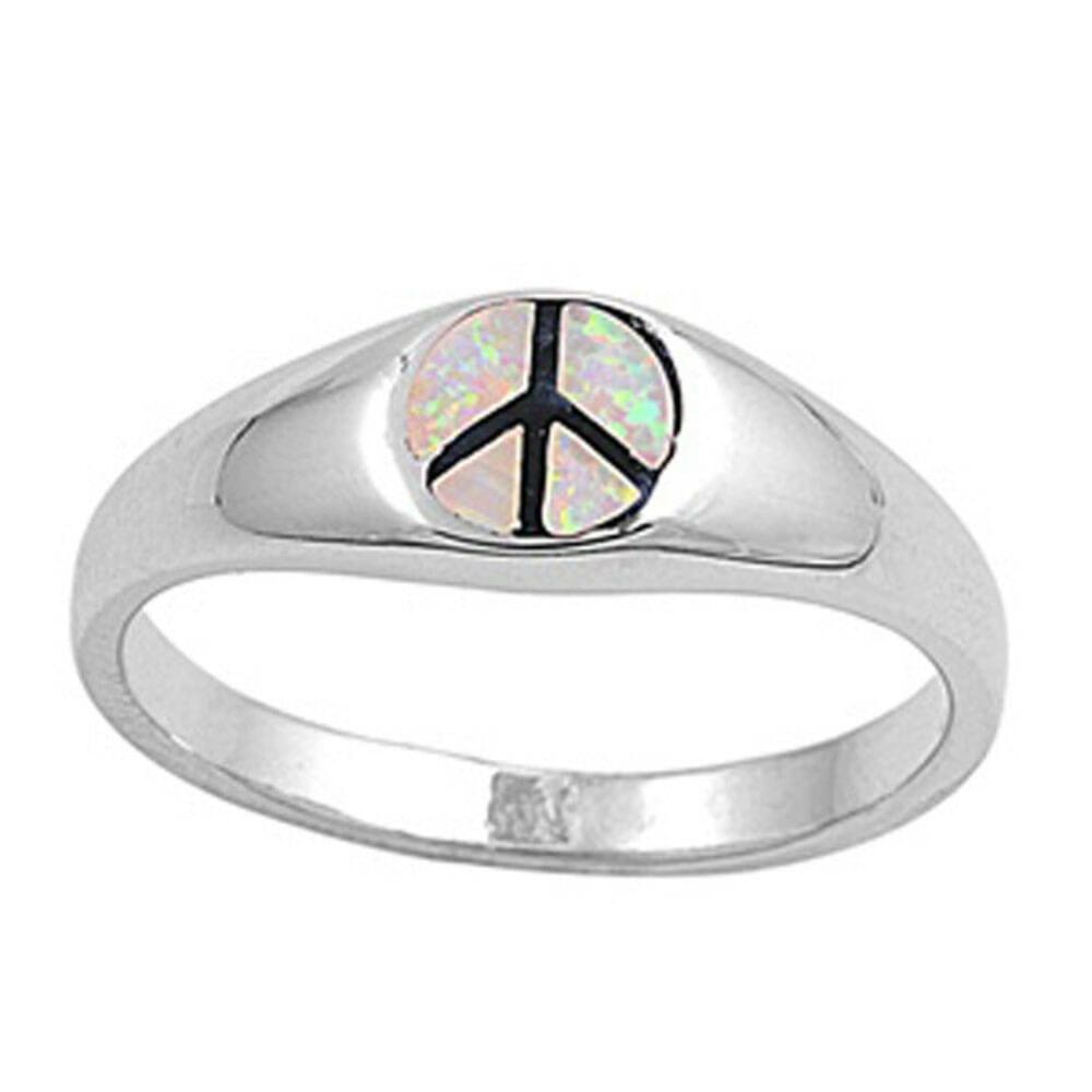 Rings $38.41 White Lab Opal Peace Symbol Set in a Sterling Silver Band opal white