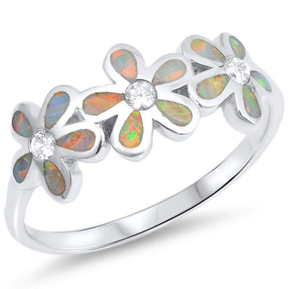 Rings $60.15 White Lab Opal Plumeria Flowers Cut and Round CZ Stones Sterling Silver Ring 50-100, badge-toprated, clear, cubic-zirconia, cz