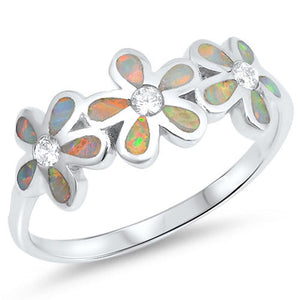 White Lab Opal Plumeria Flowers Cut and Round CZ Stones Sterling Silver Ring