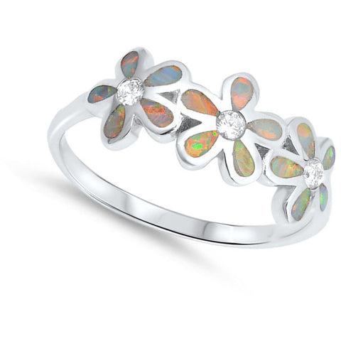 Rings $37.15 White Lab Opal Plumeria Flowers Cut and Round CZ Stones Sterling Silver Ring clear cubic-zirconia cz opal white