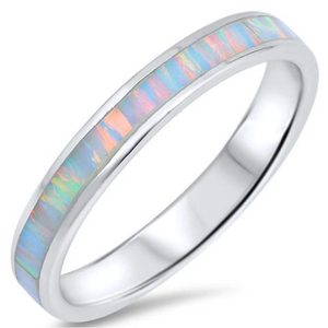 Rings $59.87 White Lab Opal Smooth Inlay in Sterling Silver Stackable Thumb Band 50-100, badge-toprated, opal, rings, size-11