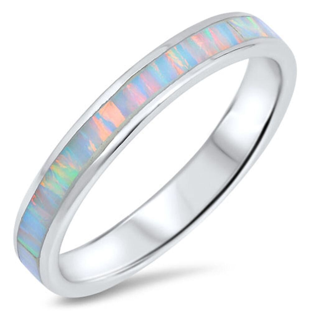 Rings $36.94 White Lab Opal Smooth Inlay in Sterling Silver Stackable Thumb Band opal stackable thumb white