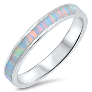 White Lab Opal Smooth Inlay in Sterling Silver Stackable Thumb Band