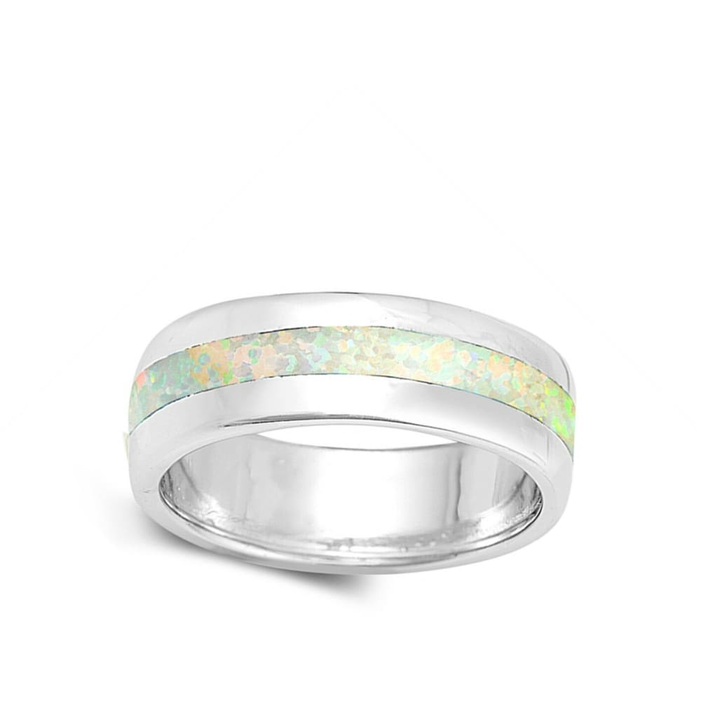 Rings $37.78 White Lab Opal Smooth Inlay in Sterling Silver Wide Engagement Band engagement opal white wide