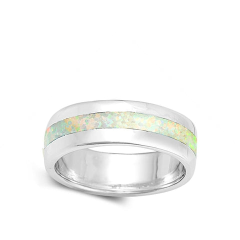 Image of Rings $37.78 White Lab Opal Smooth Inlay in Sterling Silver Wide Engagement Band engagement opal white wide