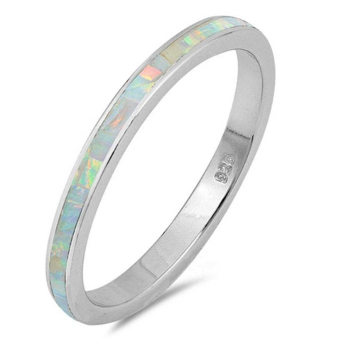 Rings $31.90 White Lab Opal Stackable Wedding Band 25-50, badge-toprated, opal, rings, size-10