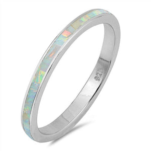 White Lab Opal Stackable Wedding Band
