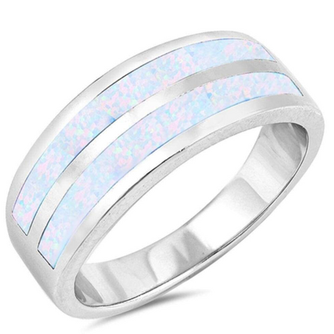 Rings $77.73 White Lab Opal Stripe Smooth Inlay Wedding Ring 50-100, badge-toprated, opal, rings, size-10