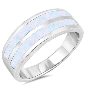 White Lab Opal Stripe Smooth Inlay Wedding Ring
