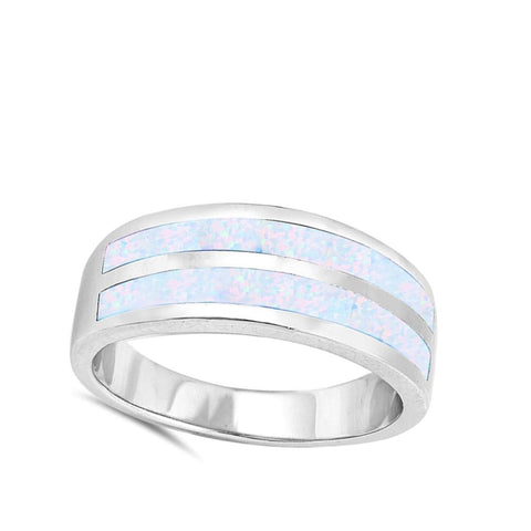 Rings $50.17 White Lab Opal Stripe Smooth Inlay Wedding Ring opal wedding white